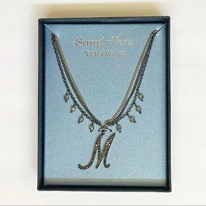 Vera Wang M crystal silver gunmetal layer necklace